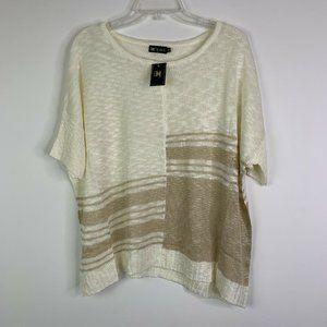 C.O.C. Womens Sweater 1XL Ivory Cream Tan Short